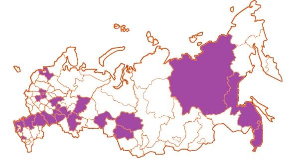 География российских участников конференции по регионам и областям