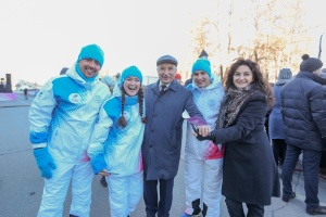 Winter Universiade 2019 torch relay event at Kazan University campus visited by Governor of Krasnoyarsk Krai Alexander Uss